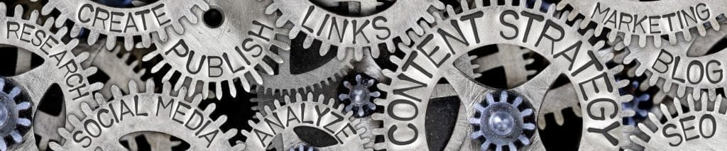 Large group of tooth wheels with Content Strategy, Social Media and Marketing concept related words imprinted on metal surface
